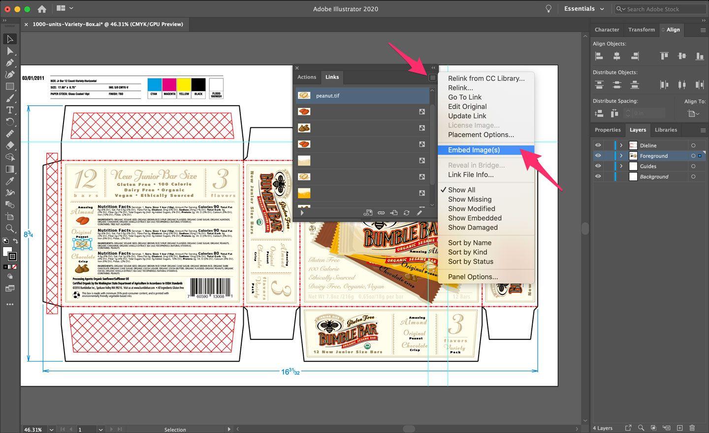 Dieline Design Embed Images Adobe Illustrator