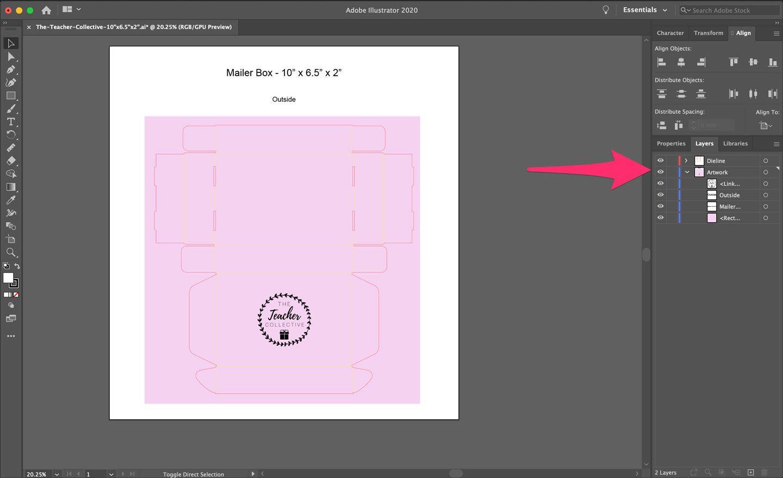 Using Layers in Adobe Illustrator for Dieline Design