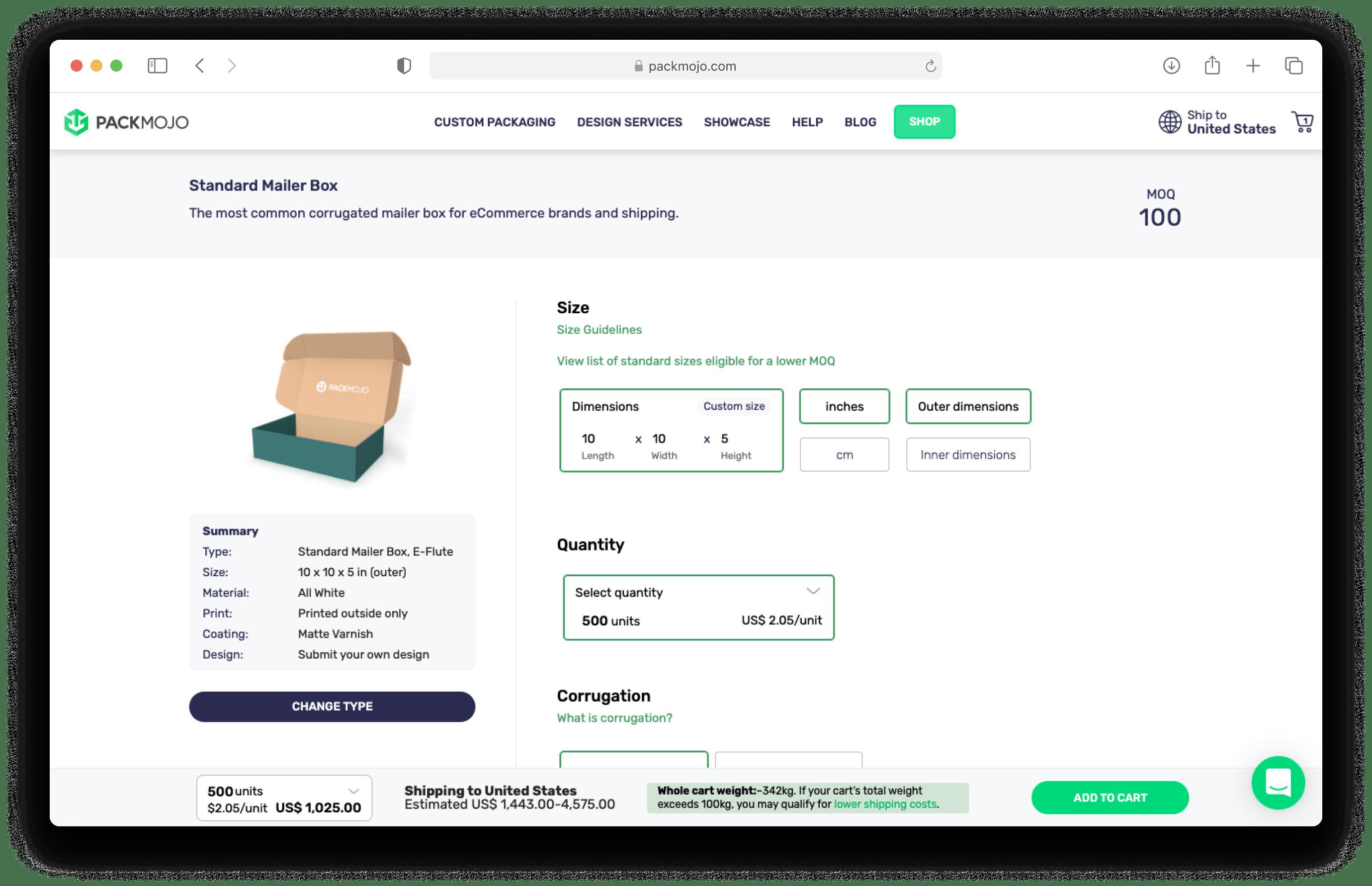 PackMojo Shop in Browser Mockup