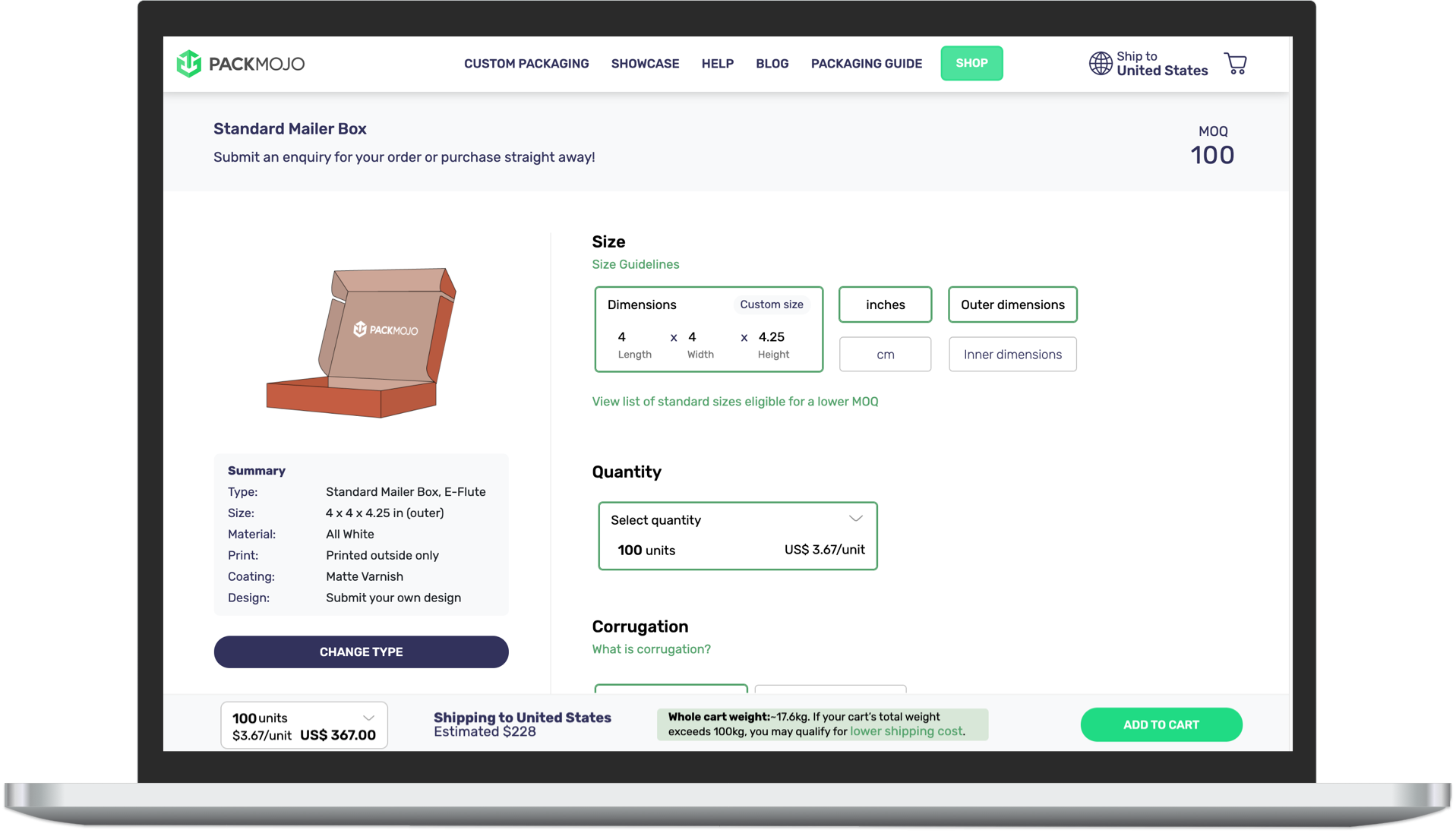 PackMojo Online Packaging Quote Generator